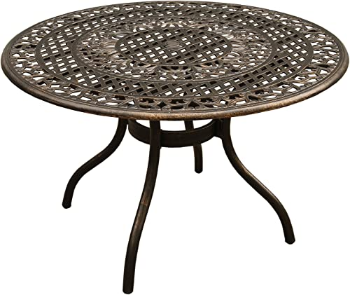 Oakland Living AZ2666-ROUND-48-ORNATE-TABLE-BZ Outdoor Aluminum 48 inch Round Table