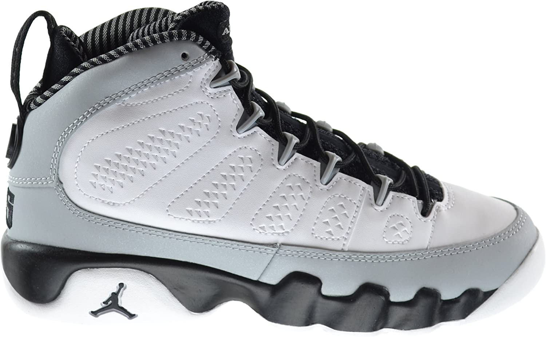 Nike Boys Air Jordan 9 Retro BG Barons White//Black-Wolf Grey Leather Basketball Shoes Size 6Y