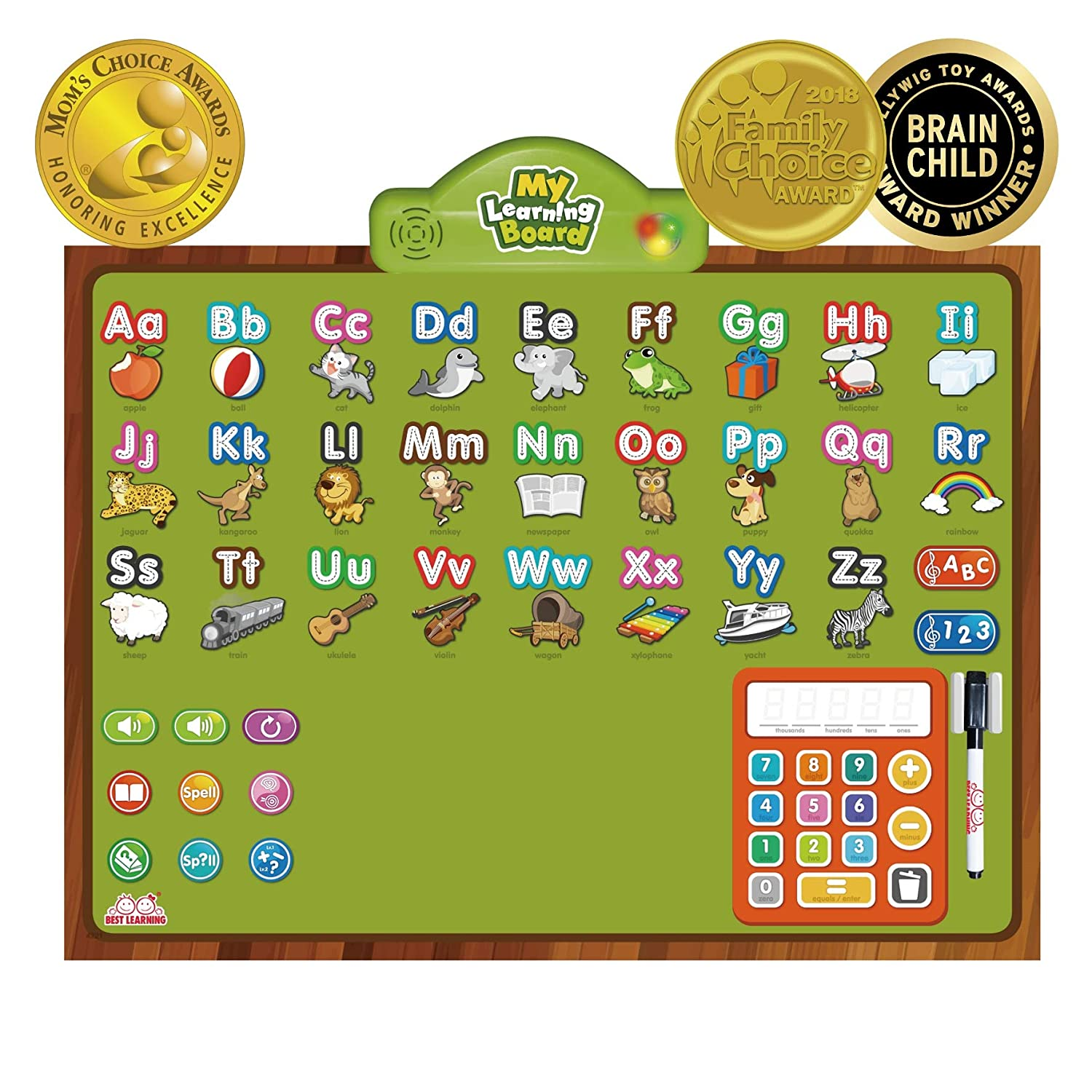 BEST LEARNING i Poster My Learning Board Interactive Talking Educational Poster for Wall Toy to Learn ABC Numbers Math Spelling Write Letters Quiz for Toddlers Kids