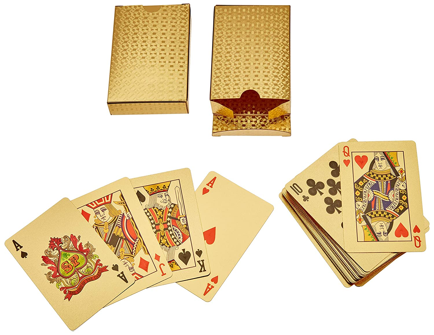 2x Classic Waterproof 24K Gold Foil Plated Cover Poker Playing Cards Table Games