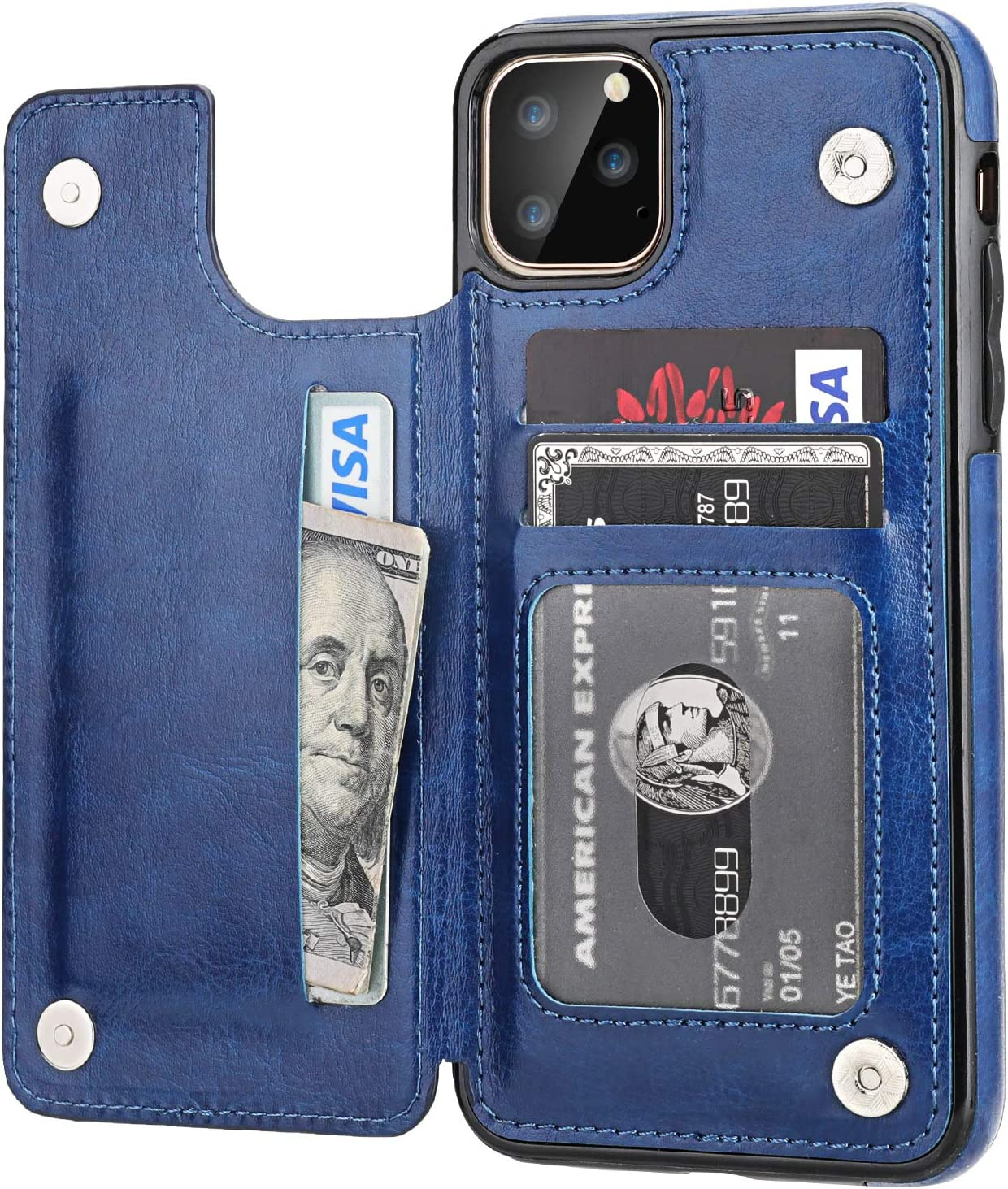 iPhone 11 Pro Max Wallet Case with Card Holder,OT ONETOP PU Leather Kickstand Card Slots Case,Double Magnetic Clasp and Durable Shockproof Cover for iPhone 11 Pro Max 6.5 Inch(Blue)