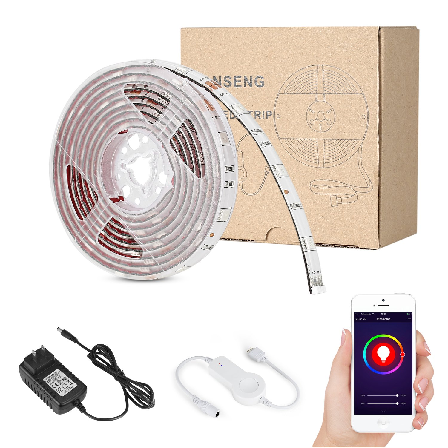 Vanseng 6ft LED Flexible Light Strip, WiFi Wireless Smart Phone Controlled 2M 60 Units SMD 5050 LEDs Waterproof IP65 LED Rope Light Strip Kit, DC 12V Power Supply, Working with Alexa by Vanseng