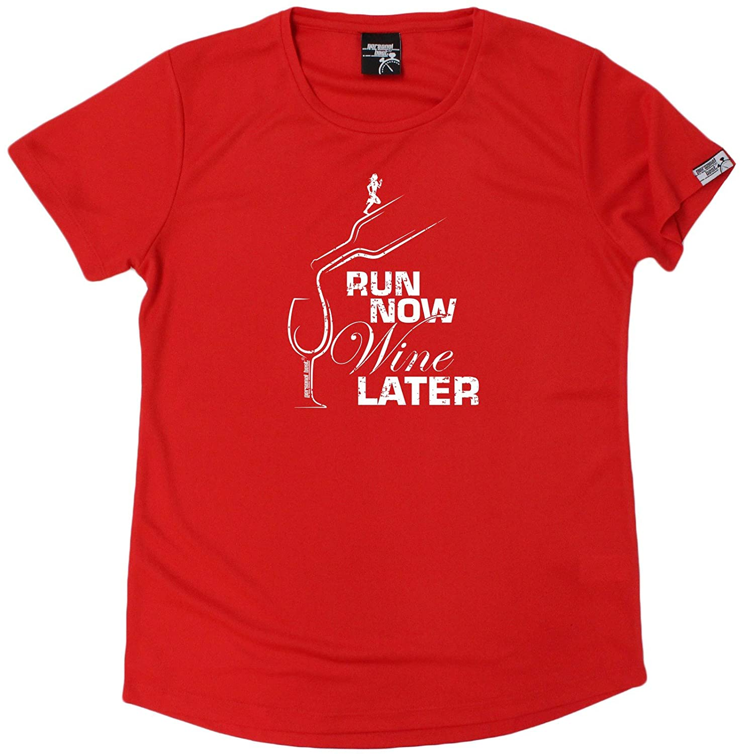 Personal Best Women's Run Now Wine Later - Premium Dry Fit Breathable Sports Round-Neck T-Shirt