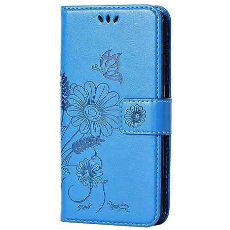 kazineer Funda Samsung J5 2017, Galaxy J5 2017 Funda Cuero Flor Patrón Cartera Carcasa para Samsung Galaxy J5 2017 Caso - Azul Turquesa