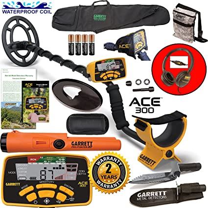 Amazon.com : Garrett ACE 300 Metal Detector with Waterproof Coil ProPointer AT and More : Garden & Outdoor