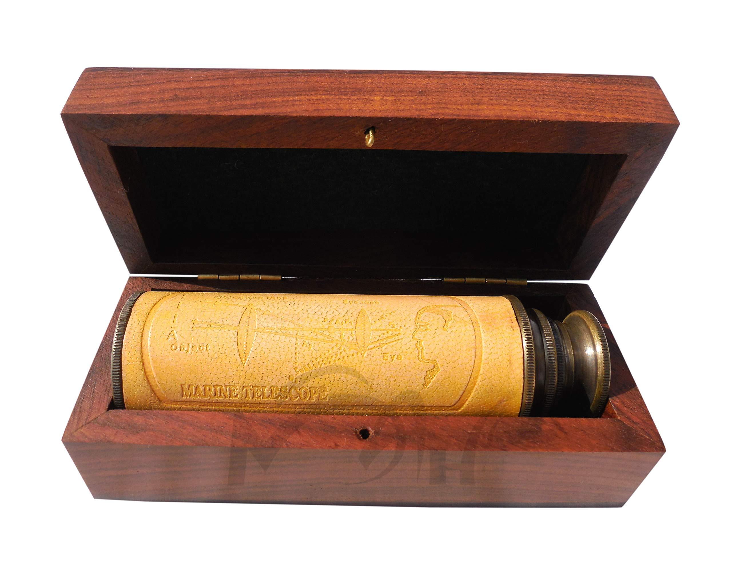 MAH 12 Inch Brass Ship Captain Telescope/Spyglass with Wooden Box. C-3132