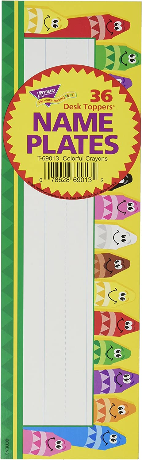 TREND enterprises, Inc. Colorful Crayons Desk Toppers Name Plates, 36 ct
