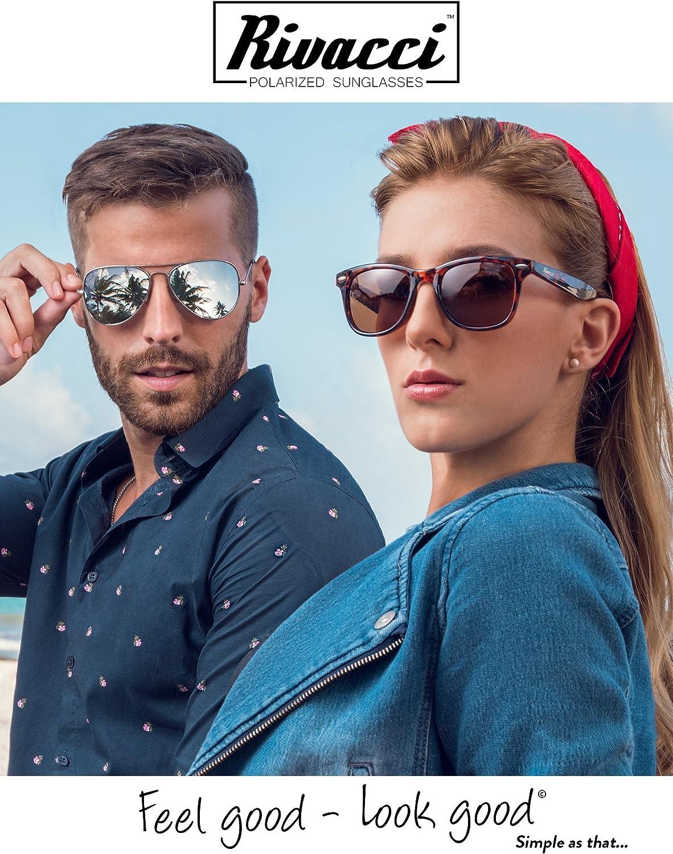 Rivacci Clubmaster Occhiali da sole polarizzati Wayfarer Aviator Uomo Donna/ /Custodia /& panno in Omaggio