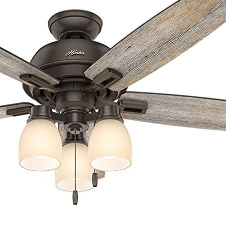 Hunter Fan 52 inch Ceiling Fan with Three-light Fitter and Clear Frosted Glass in Brushed Nickel Renewed Onyx Bengal Bronze