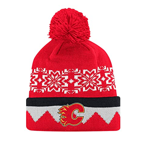 38460cdc1ba Image Unavailable. Image not available for. Color  adidas Calgary Flames NHL  Snowflake Cuffed Pom Knit Hat