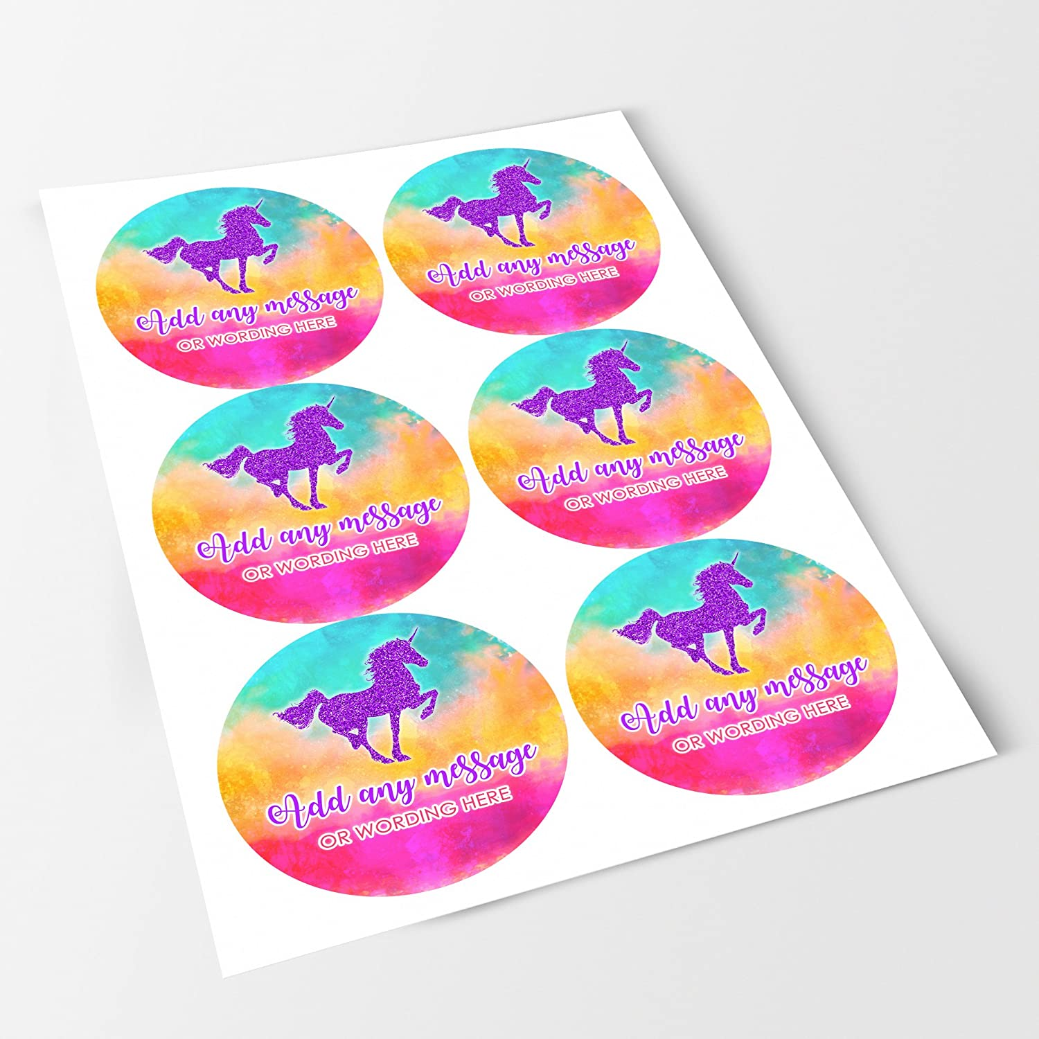 Bottles Glitter Unicorn Purple Sticker Labels Personalised Seals Ideal for Party Bags Crafts Jars Presentations Gift Boxes Sweet Cones Favours