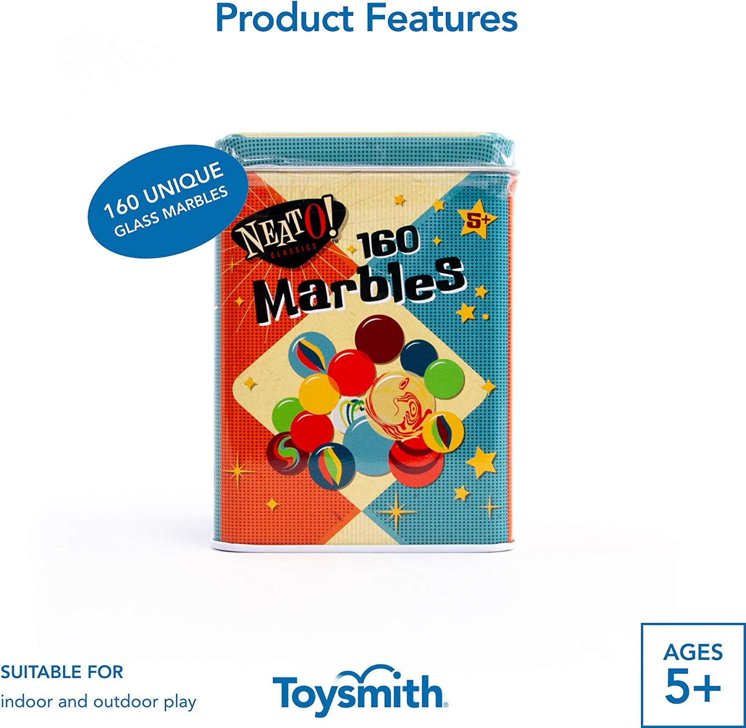 Toysmith Neato Classics 160 Marbles In A Tin Box By Toysmith Retro Nostalgia Glass Shooter Marble Games Are Timeless Play For Kids Boys Girls Amazon Exclusive Toys Games