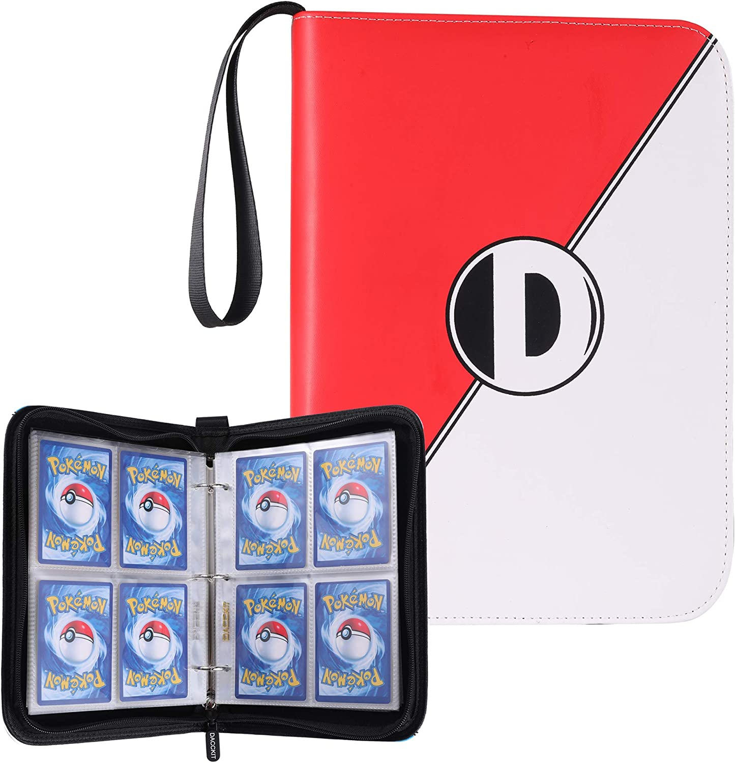 D DACCKIT Carrying Case Binder Compatible with Pokemon Card, Holds Up to 400 Cards - Trading Cards Collectors Album with 50 Premium 4-Pocket Pages (Red White)
