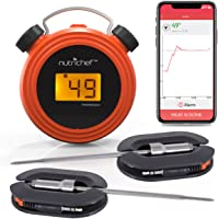 Smart Bluetooth BBQ Grill Thermometer - Digital Display, Stainless Dual Probes Safe to Leave in Outdoor Barbecue Meat Smoker - Wireless Remote Alert iOS Android Phone WiFi App - NutriChef PWIRBBQ60