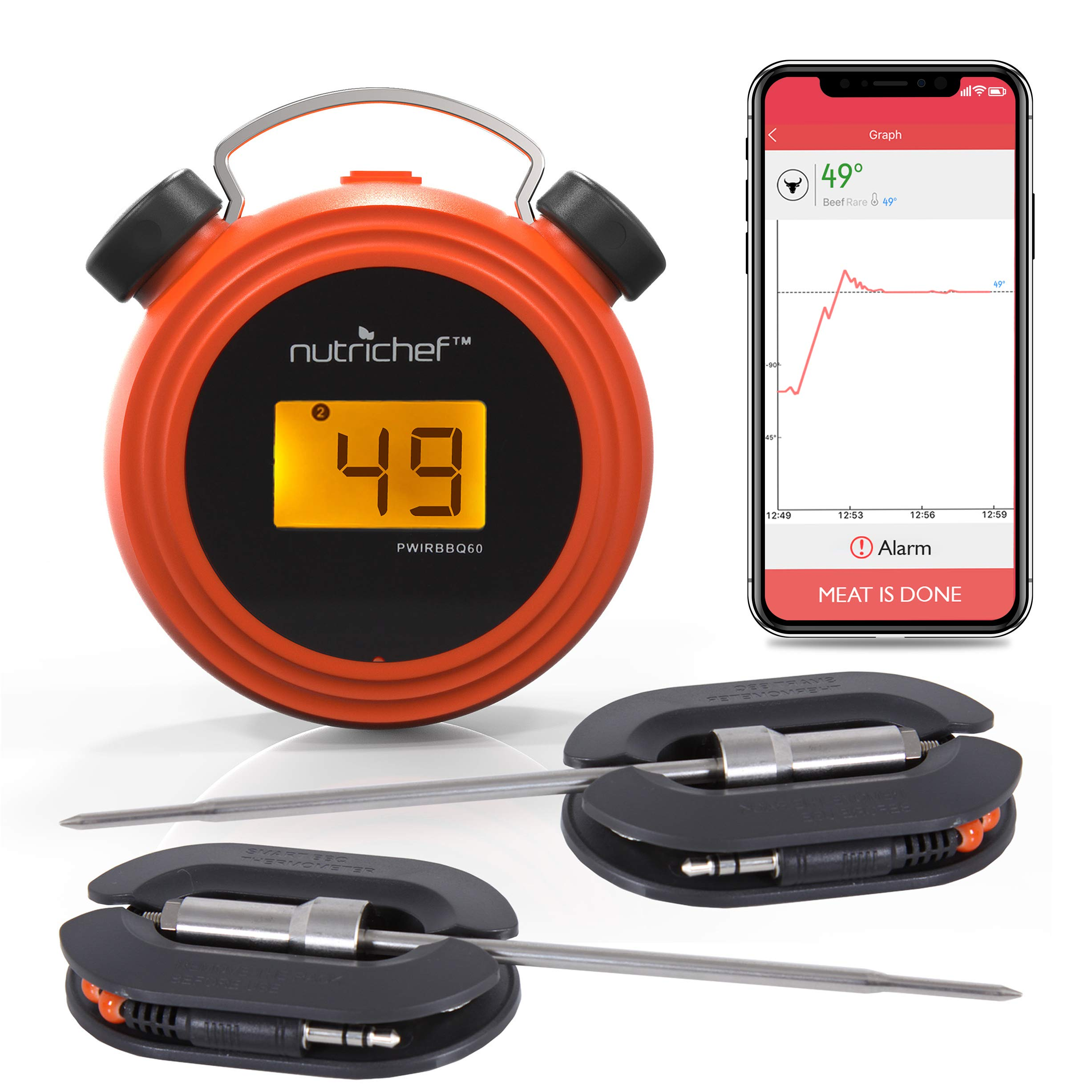 Smart Bluetooth BBQ Grill Thermometer - Digital Display, Stainless Dual Probes Safe to Leave in Outdoor Barbecue Meat Smoker - Wireless Remote Alert iOS Android Phone WiFi App - NutriChef PWIRBBQ60 by Nutrichef