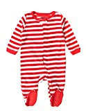 Leveret Footed Fleece Sleeper Red & White Stripes 4