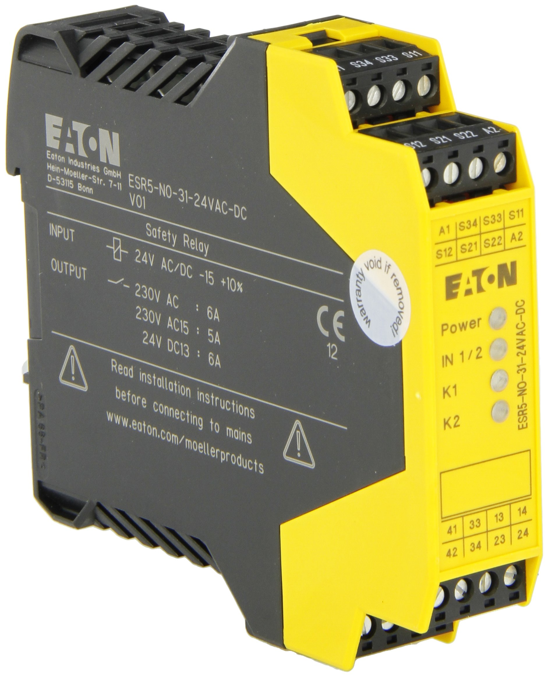 Eaton ESR5-NO-31-24VAC-DC Safety Relay, Single Dual Channel Main Unit, 3 NO Safety Output, 1 NC Signal Output, 24 VAC/DC Control Voltage