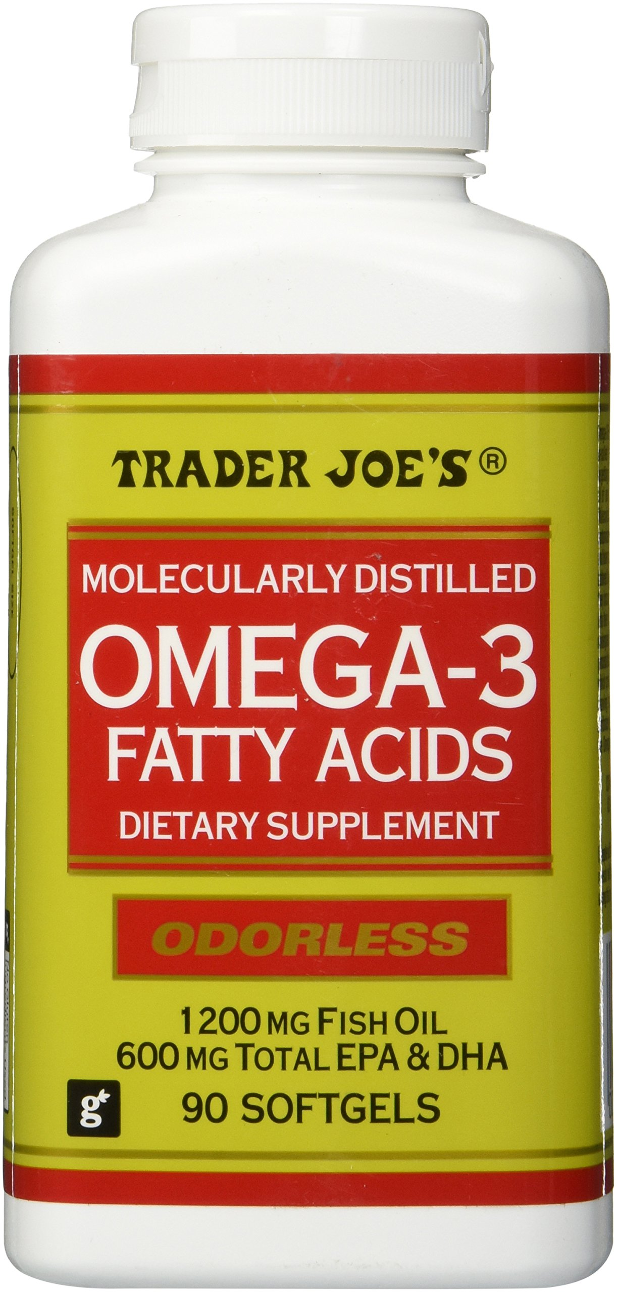 Trader Joes Omega-3 Fatty Acids 1200mg Fish Oil, 90softgels, Odorless