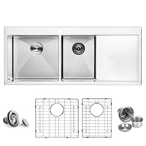 Brilliant Bai 1235 Stainless Steel 16 Gauge Kitchen Sink Handmade 48 Inch Top Mount Double Bowl With Drainboard Home Interior And Landscaping Palasignezvosmurscom