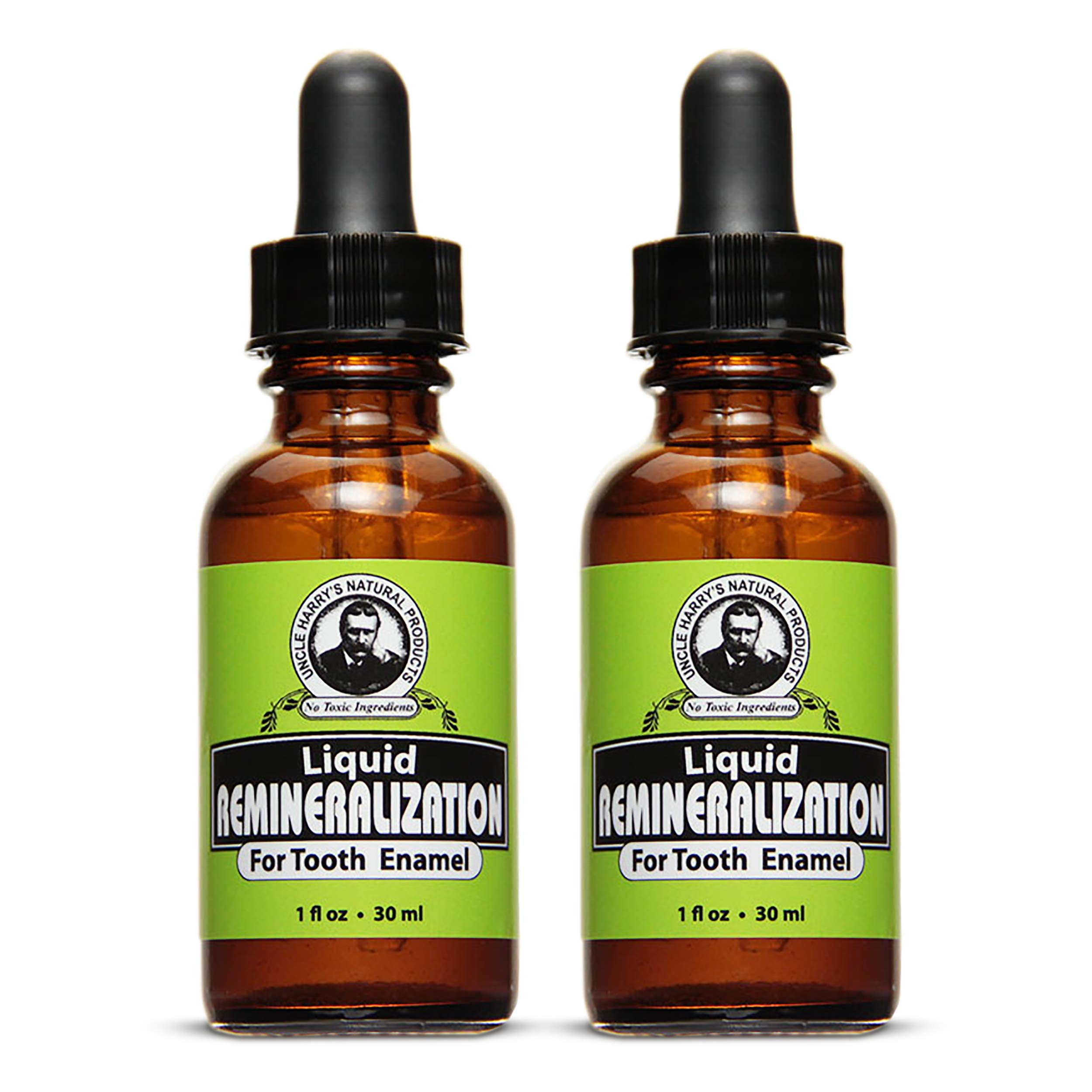 Uncle Harry's Natural & Fluoride-free Remineralization Liquid For Tooth Enamel - Freshens Breath & Strengthens Teeth (2 pack, 1 oz.)