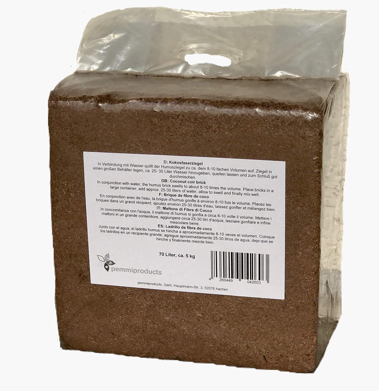 Kokosfaserziegel 70 Liter, ca. 5kg (EUR 0,18 je Liter), Humusziegel, Kokosziegel, torffreie Anzuchterde, Kokosquellerde aus gepresster Kokosfaser
