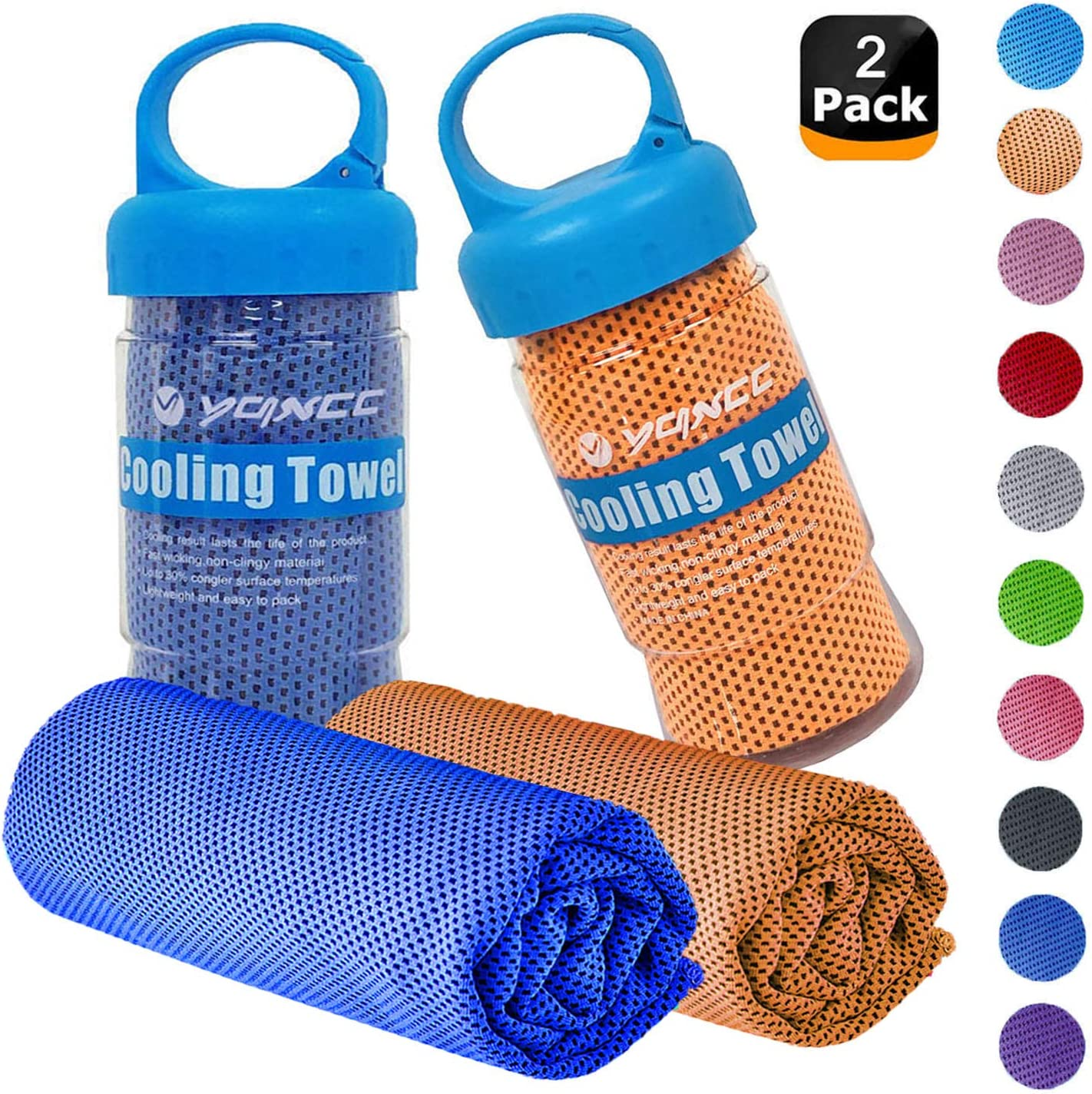 "YQXCC Cooling Towels 2 Pack (47""x12"") Travel Towel Microfiber Gym Towel for Men or Women Ice Cold Towels for Yoga Gym Travel Camping Golf Football & Outdoor Sports"