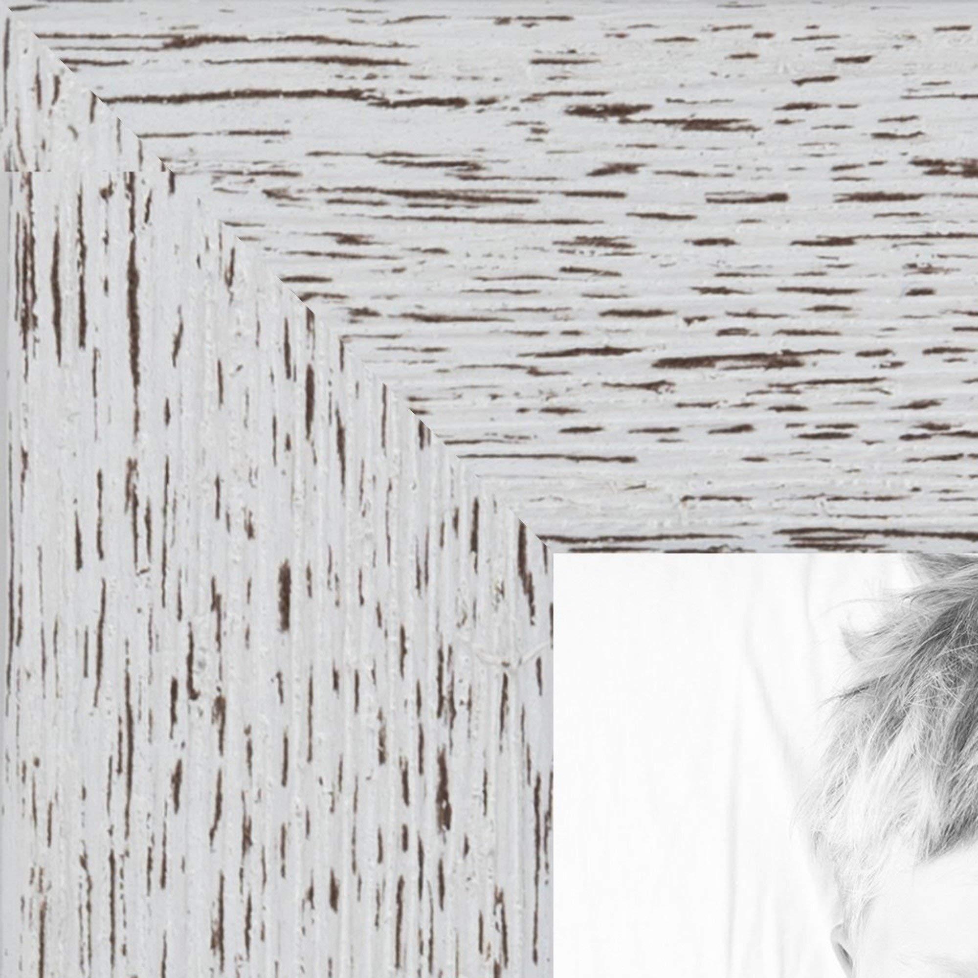 ArtToFrames 8x24 inch Eggshell Rustic Barnwood Wood Picture Frame, 2WOM0066-1343-YWHT-8x24