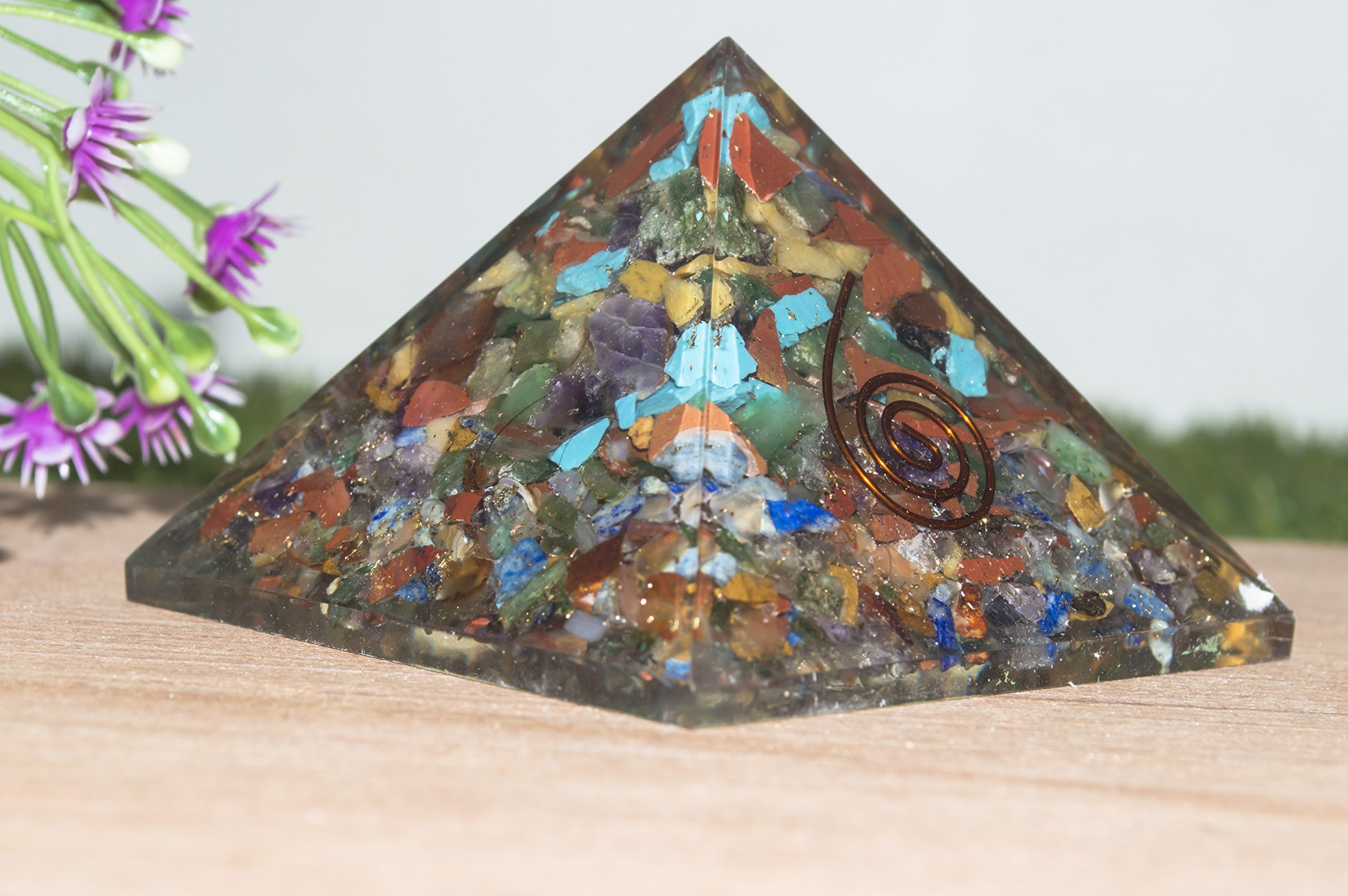 Crocon Mix Chakra Orgone Pyramid Energy Generator for Reiki Healing Aura Cleansing & EMF Protection Size: 2.5-3 Inch