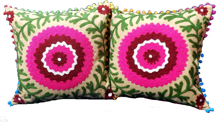 Amazon Com Handicraft Bazarr 2 Pcs 16x16 Traditional Jaipur Suzani Pillows Decorative Throw Pillow Case Indian Pom Pom Outdoor Cushions Boho Pillow Shams Living Room Decor Embroidery Sofa Cushion Cover Home Kitchen