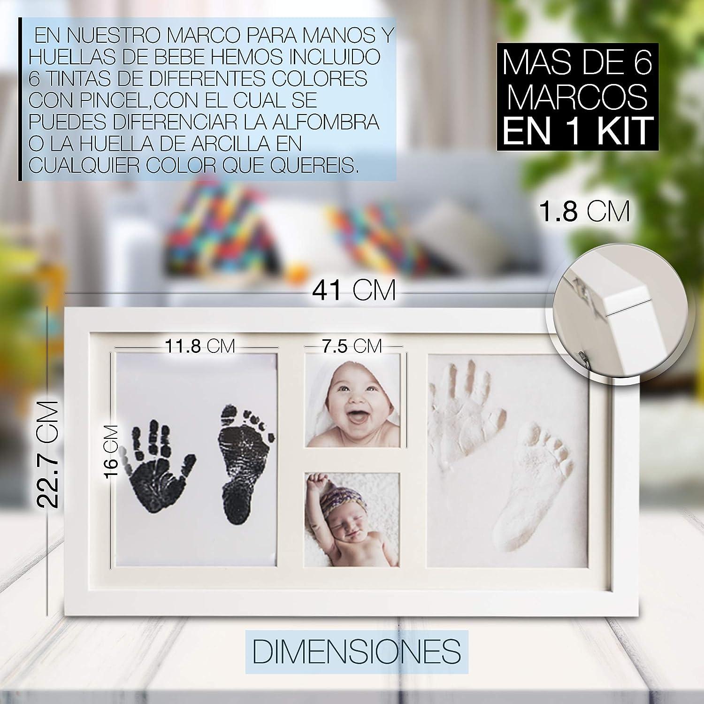 No t/óxico Baxy Set de Marco de Fotos y Huellas de Beb/é en Arcilla No se agrieta al secar Ideal Regalos Para Bebes Recuerdo memorable