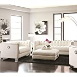 Amazon Com Wing Back White Faux Leather Armchair Kitchen