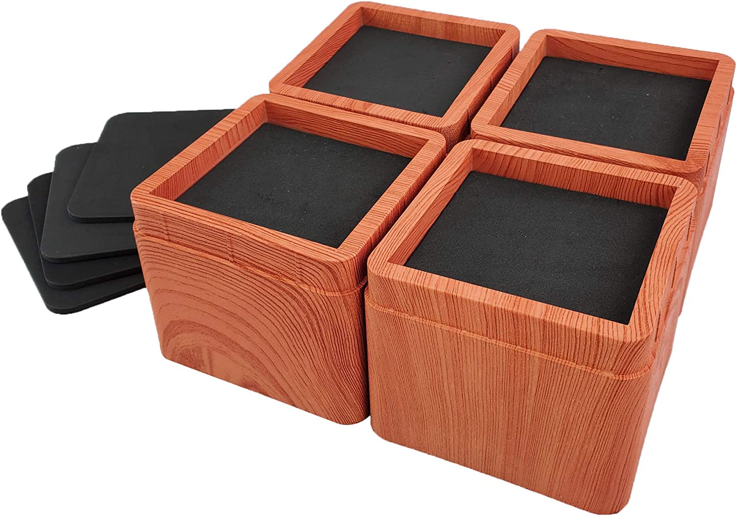 4 Packs Durable and Stackable Square Bed Lifts Lifts Up to 10000 LBs Per Riser aspeike 3 or 6 INCH Bed and Furniture Risers Black A Large Area of Groove with Anti Slip Mat