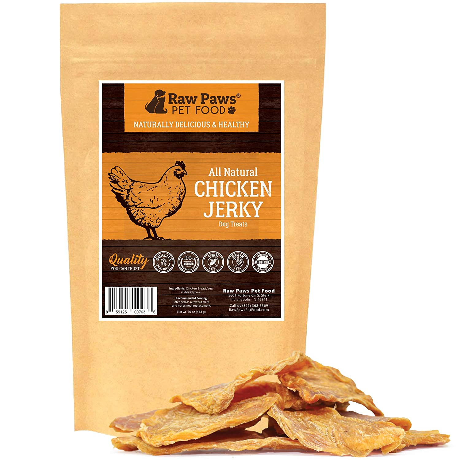 Raw Paws Premium Chicken Jerky Dog Treats - Natural Dog Jerky Treats Packed in USA - Real Chicken Dog Treats - Chicken Jerky for Dogs Raised Without Antibiotics - Free Range Chicken Dog Chews