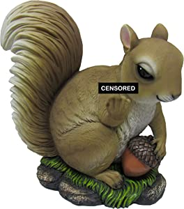 DWK - Nutty Welcome - Adorable Offensive Squirrel with Acorn Flipping The Bird Statue, Middle Finger Indoor Outdoor Statue and Fall Decor Sculpture Accent for Home Garden and Patio Decor