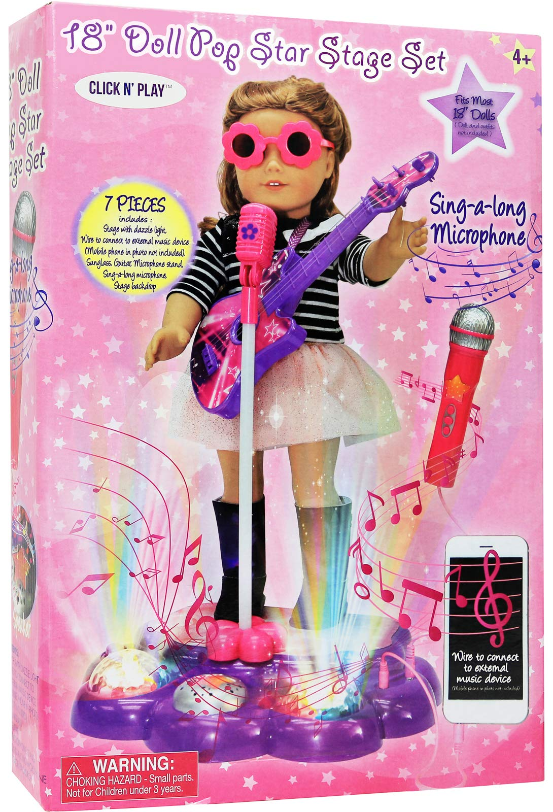 Kids Doll Interacting Toy Karaoke Machine Performance Stage Disco LED Lights, Guitar, Microphone with Stand Sunglasses Smartphone MP3 Connectivity Sing-Along Perfect For 18 inch American Girl Dolls by Click N' Play (Image #4)