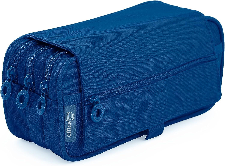 Estuche Portatodo Triple de Amplios Apartados Interiores con Cierre de Cremallera Individual (Azul Oscuro): Amazon.es: Oficina y papelería