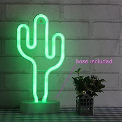 Cactus Neon Light Wall Decor Neon Signs for Bedroom Kids with Table Stand Battery and USB Powered Night Light Home Decoration (NECAC): Home Improvement