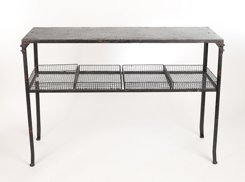 Konsolentisch im Industriellen Stil mit 4 Körben in Farbe Schwarz Ideal für den Flur 84 x 120 x 40 cm A24 Antyki24