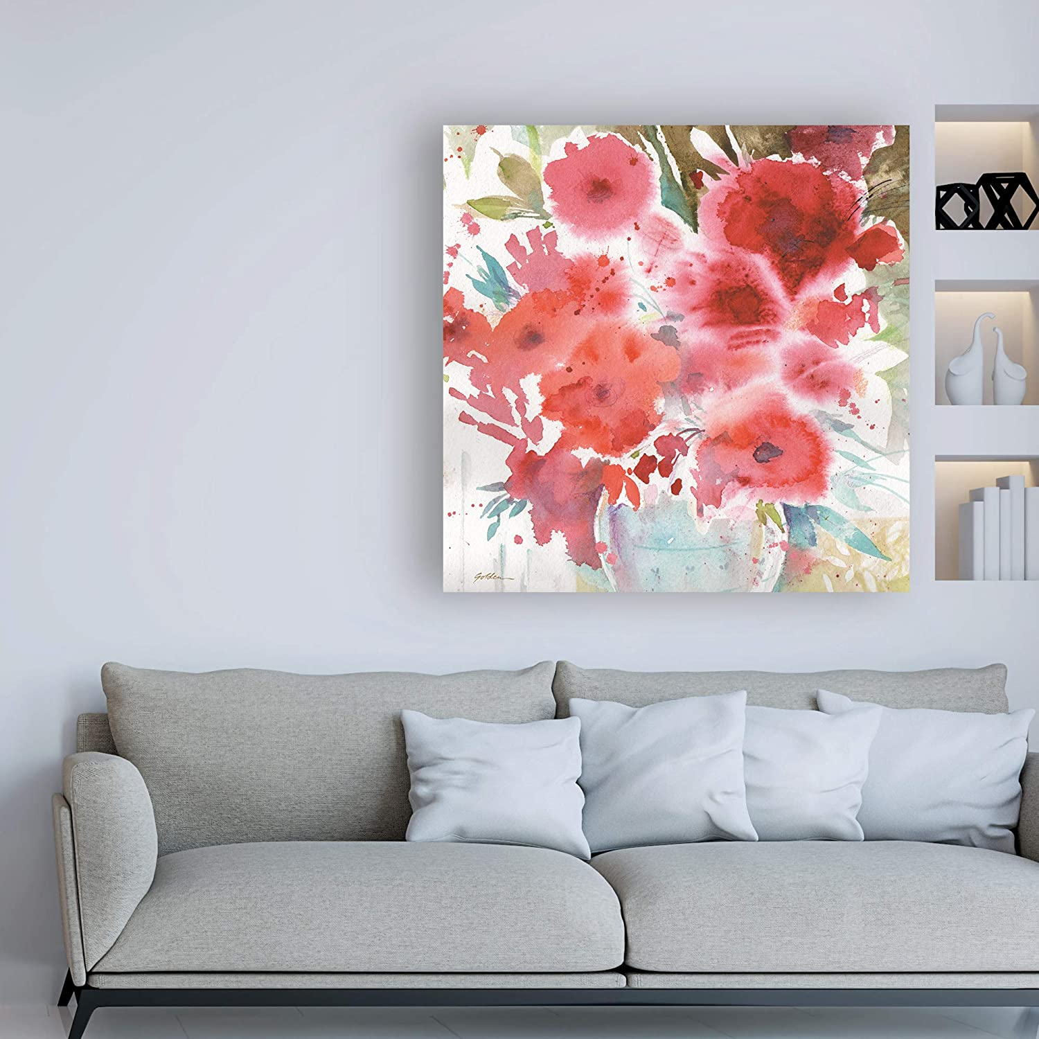 14x14 Trademark Fine Art Symphony of Red 2 by Sheila Golden