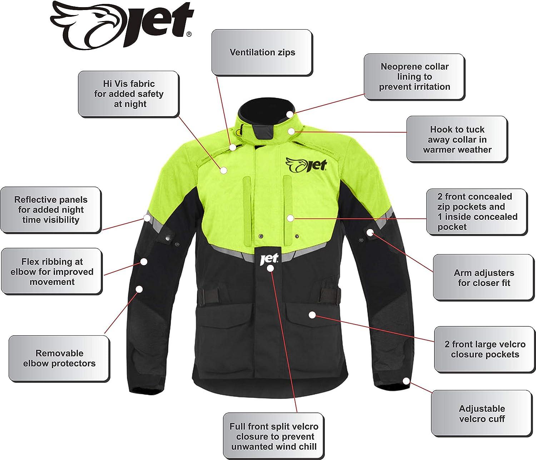 JET Chaqueta de moto para hombre impermeable textil con blindaje CE