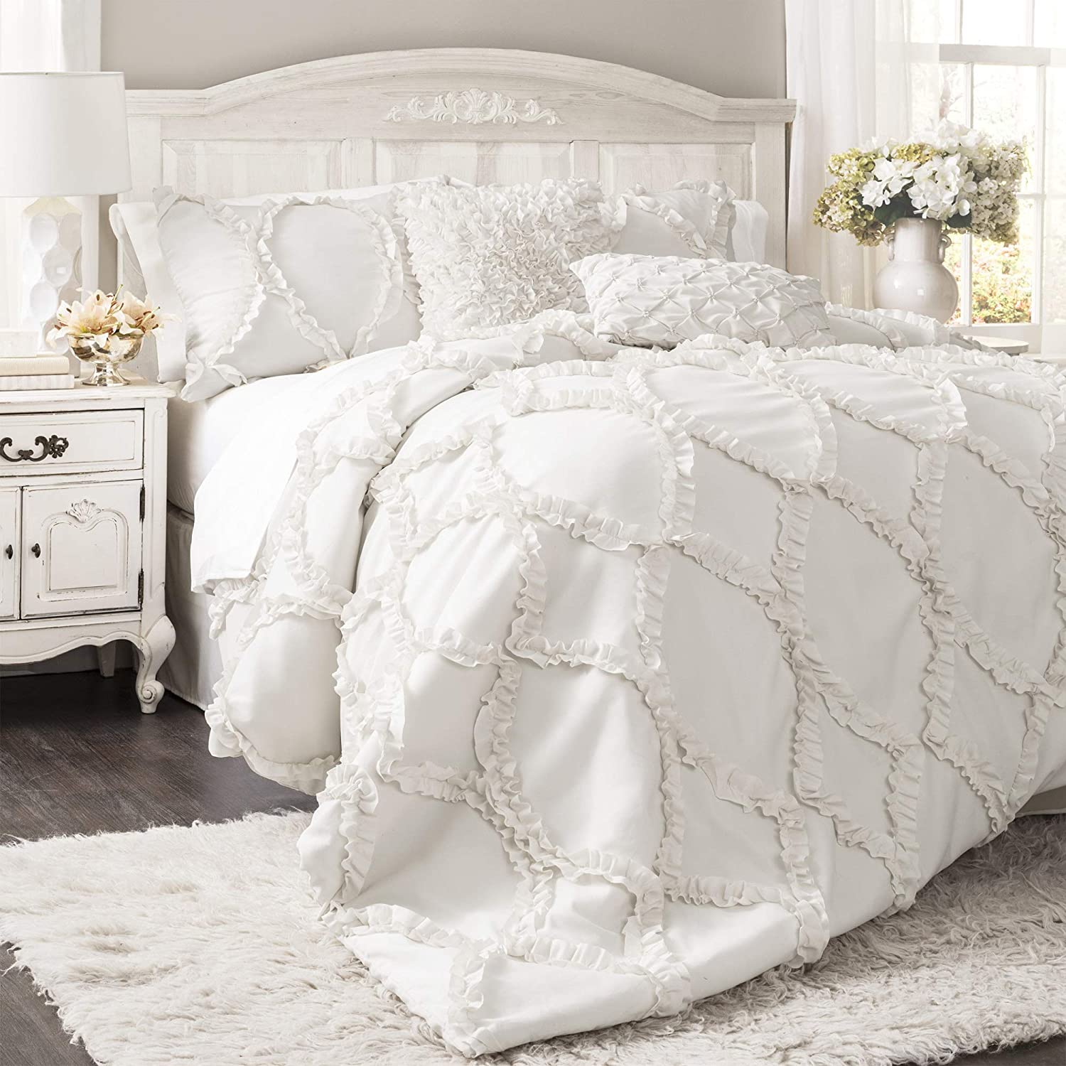 Lush Decor Comforter Ruffled 3 Piece Set with Pillow Shams - Full Queen - White,
