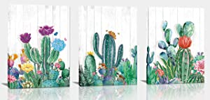 aburaeart Cactus Wall Art - Living Room Wall Decor, Green Plant Flowers Painting Modern Wall Decor - Bedroom Decorations - Family Picture 3 Piece Canvas Wall Art Size 12x16 Each Panel