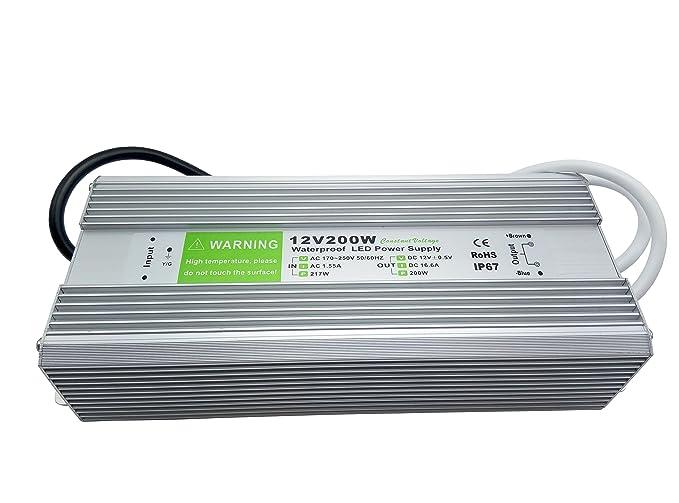 YXH® Transformador 200W LED Tira Módulo luces Conductor 12v Fuente de alimentación iluminación exterior impermeable