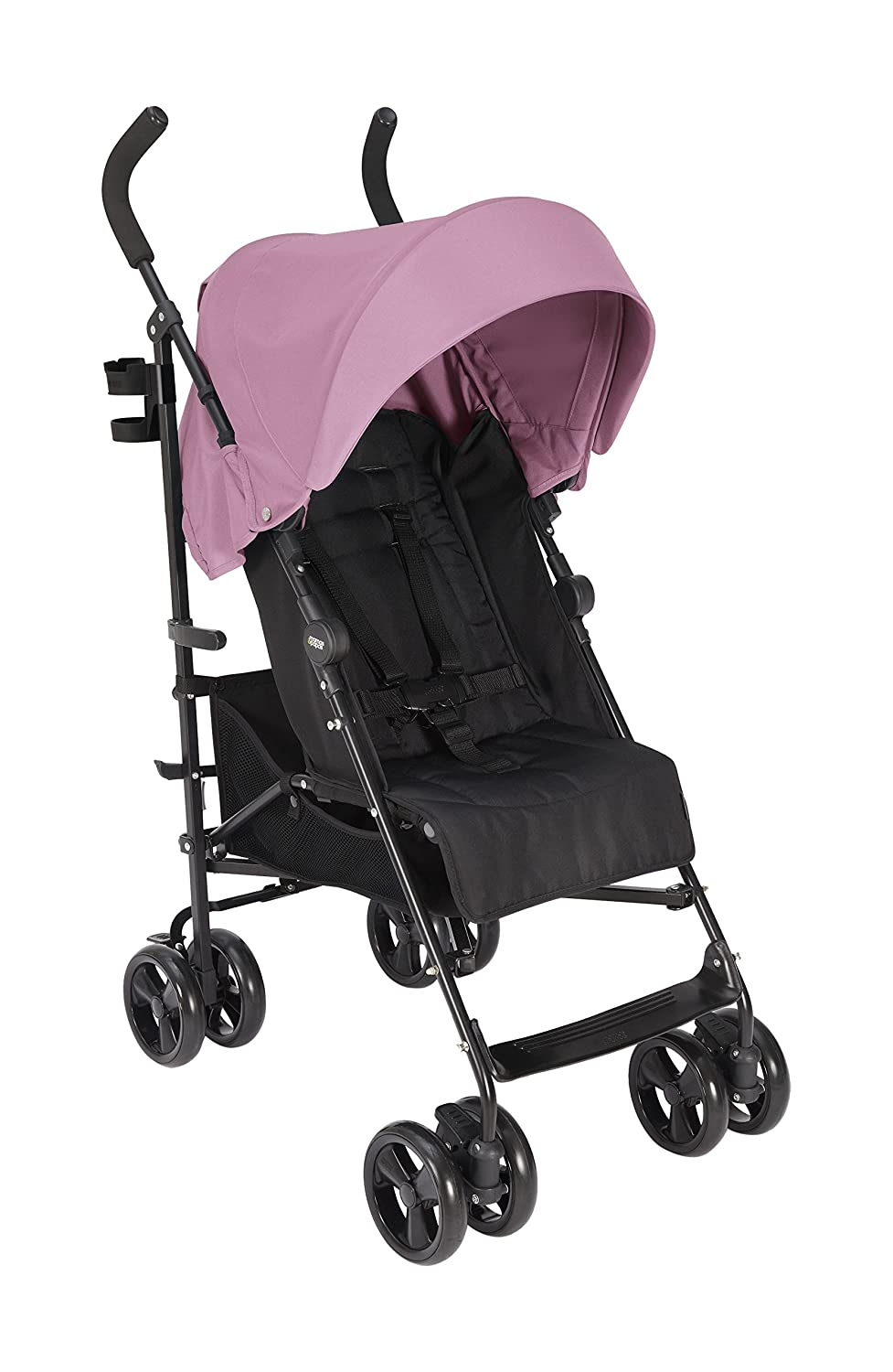 Mamas & Papas Cruise Practical Folding Pushchair Buggy with Front Suspension Wheels, Adjustable Lie Flat Seat & Large Protective Hood – Rose Pink 5573X5400