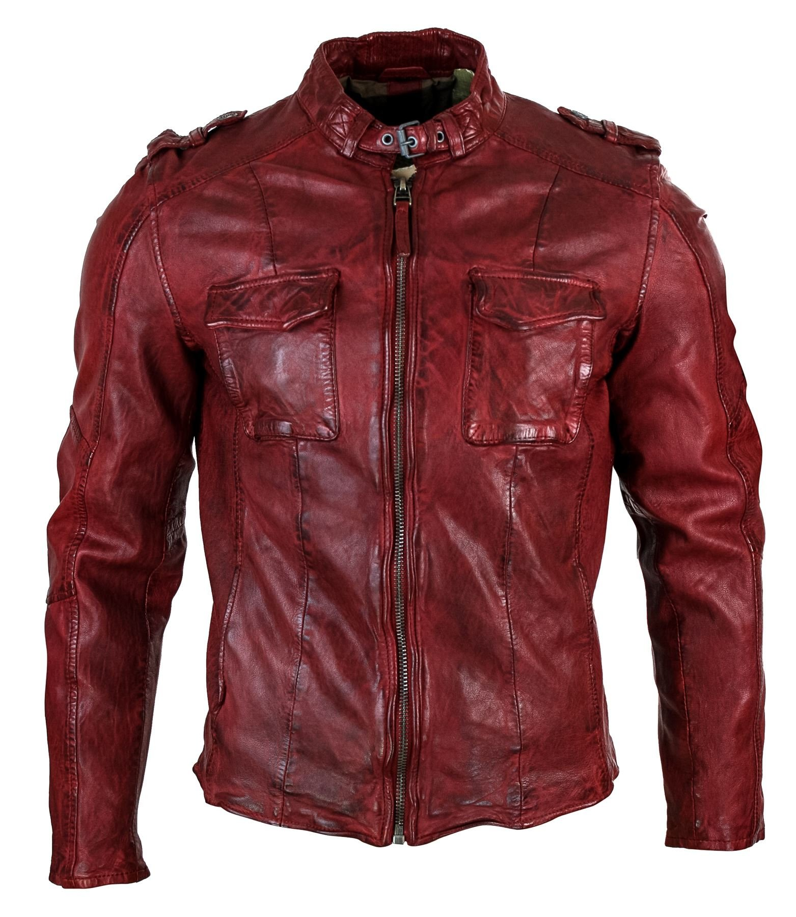 Mens Vintage Washed Genuine Leather Short Zipped Biker Jacket Casual Slim Fit