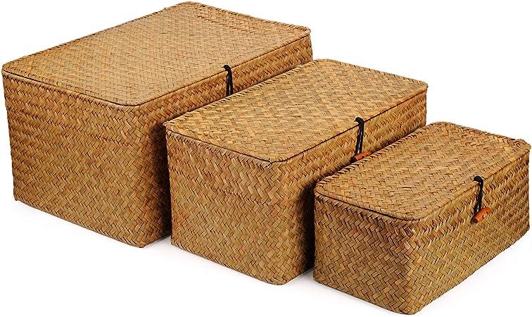 DOKOT Seagrass Cestas Mimbre Decoración Cesto de Almacenaje con Tapa Rectangular Tejido de Ratán Caja con Tapa 3 Piezas (Grande + Mediano + Pequeño): Amazon.es: Hogar