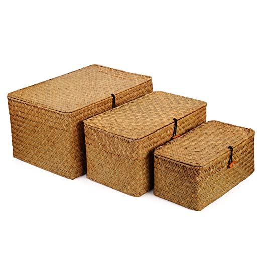 Rectangular Handwoven Seagrass Storage Basket Set With Lid For Shelves And Home Organizer Bins, Set Of 3 (Set Of 3 (S+M+L)(Super Large), Yellow) by Dokot