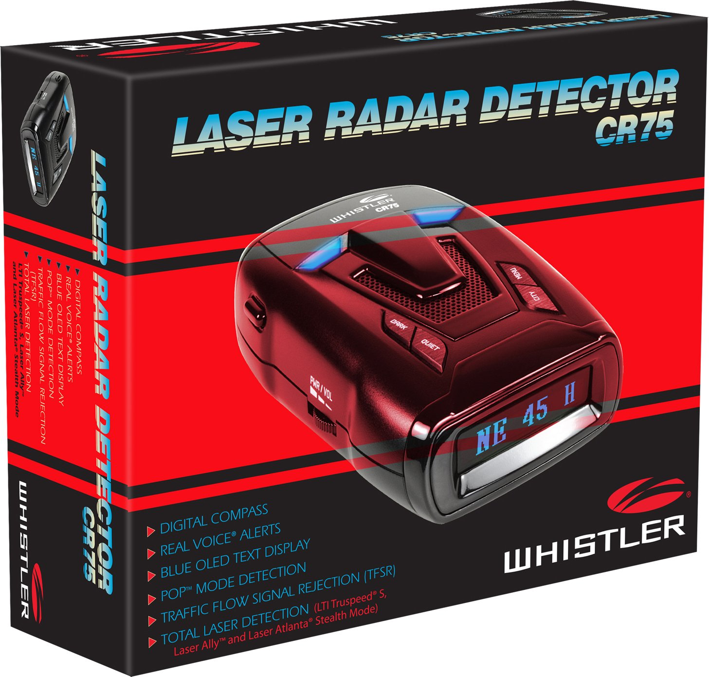 360 Degree Protection and Voice Alerts Whistler CR80 High Performance Laser Radar Detector