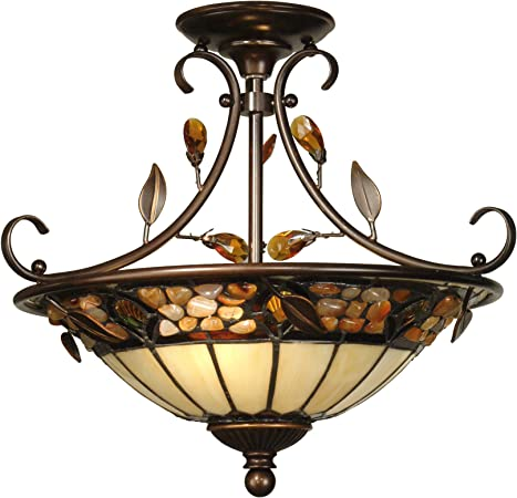 Dale Tiffany Th90218 Tiffany Mica Two Light Hanging Fixture From Crystal Jewel Pebble Stone Collection In Gold Champ Gld Leaf Finish 17 00 Inches Antique Golden Bronze Close To Ceiling Light Fixtures