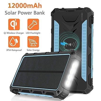Amazon.com: Cargador solar, 12000mAh QI Wireless Solar Power ...